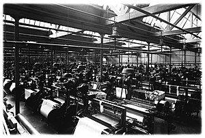 Power loom - Some of the 1200 power looms at the Plevna factory building, completed in 1877, at the Finlayson & Co cotton mills in Tampere, Finland.