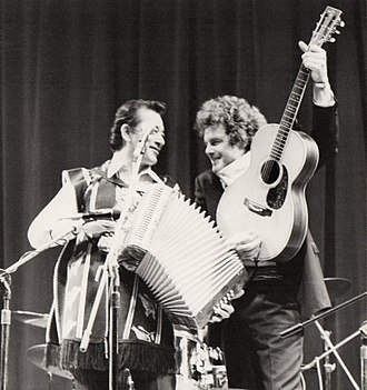 Peter Rowan - Peter Rowan (right) with Flaco Jiménez on stage at Farnham, U.K., 1985