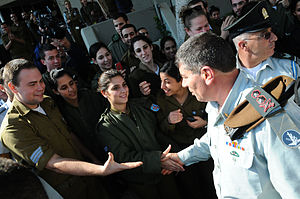 Gabi Ashkenazi - Ashkenazi greet his soldiers for the last time, as he leaves his home base for civilian life.