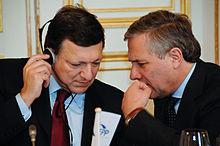 Tajani e Barroso al congresso del Partito Popolare Europeo nel 2008