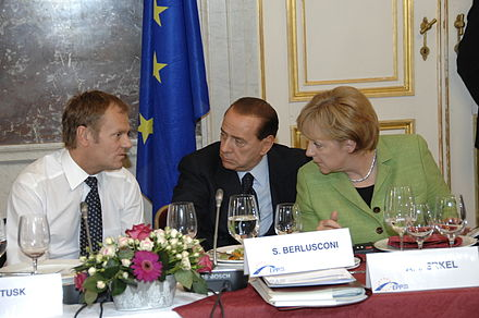 Merkel, Polish Prime Minister Donald Tusk and Italian PM Silvio Berlusconi, 2008 Flickr - europeanpeoplesparty - EPP Summit 19 June 2008 (19).jpg