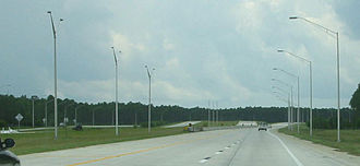 Interstate 295 (Florida) - Southbound on I-295 East Beltway at the then-unfinished interchange with SR 9B in southeastern Jacksonville