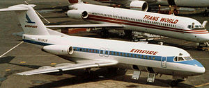 Pan Am Express - An Empire Airlines Fokker F28 Fellowship at LaGuardia Airport (1986).