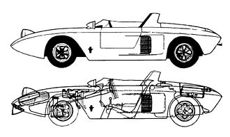 Ford Mustang I - Schematic view of Ford Mustang I