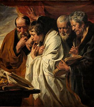Gospel harmony - The Four Evangelists by Jacob Jordaens, 1625–30, Louvre.