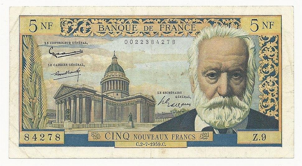 France 5 Francs 1959. VF- Banknote, Obverse