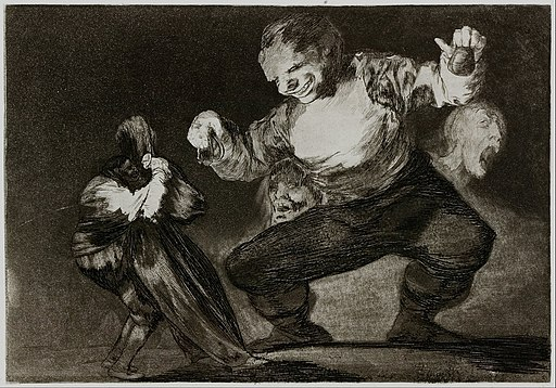 Francisco Goya - Simpleton - plate 4 from the series 'Los Disparates' (The Follies) - Google Art Project