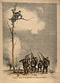 Franco-German War; a French soldier high in a tree orders a Wellcome V0015796.jpg