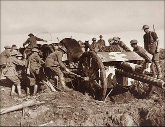 First Battle of Passchendaele - Image: Frank Hurley Camouflaged Australian 18pounder