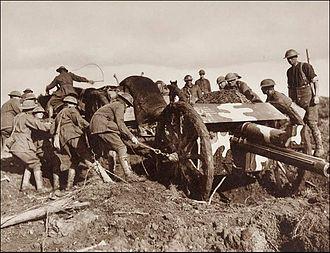 First Battle of Passchendaele - Image: Frank Hurley Camouflaged Australian 18pounder