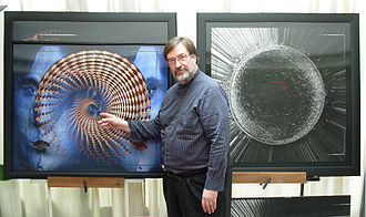 artist with his works.