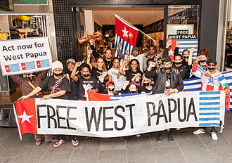 Morning Star flag - Free West Papua Protest Melbourne August 2012