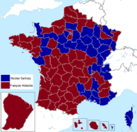 French presidential election (2. round) results (including overseas) by departament, 2012.png