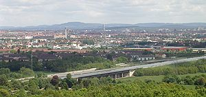 Rhine–Main–Danube Canal - the Rhine-Main-Danube Canal (in the foreground) near Nuremberg