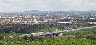 Rhine–Main–Danube Canal - the Rhine-Main-Danube Canal (in the foreground) near Nuremberg
