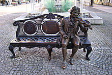 Telemann-Plastik in Żary (Sorau) (Quelle: Wikimedia)