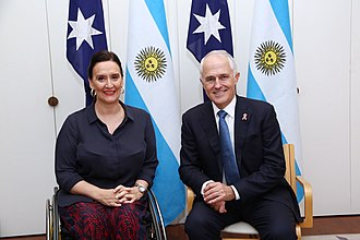 Gabriela Michetti - Michetti with Malcolm Turnbull, Prime Minister of Australia, 2017.