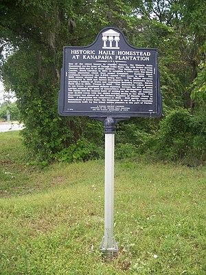 Haile Homestead - Historic marker near Kanapaha Plantation house