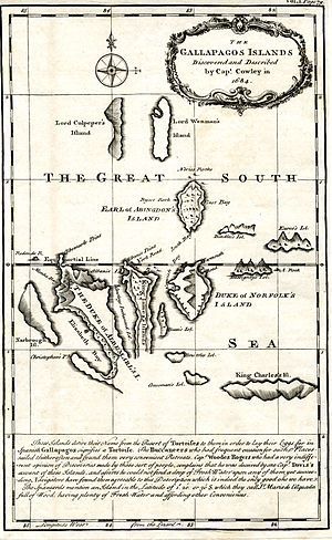 Ambrose Cowley - Map of the Galapagos Islands as described by Cowley in 1684.
