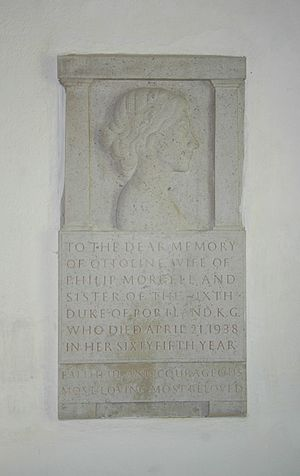 Garsington - Monument in St Mary's parish church to Lady Ottoline Morrell, carved by Eric Gill
