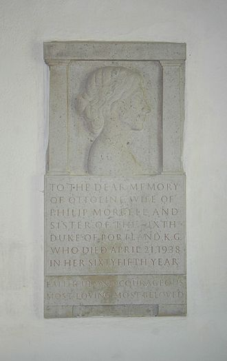 Lady Ottoline Morrell - Monument to Lady Ottoline Morrell by Eric Gill in St Mary's parish church, Garsington