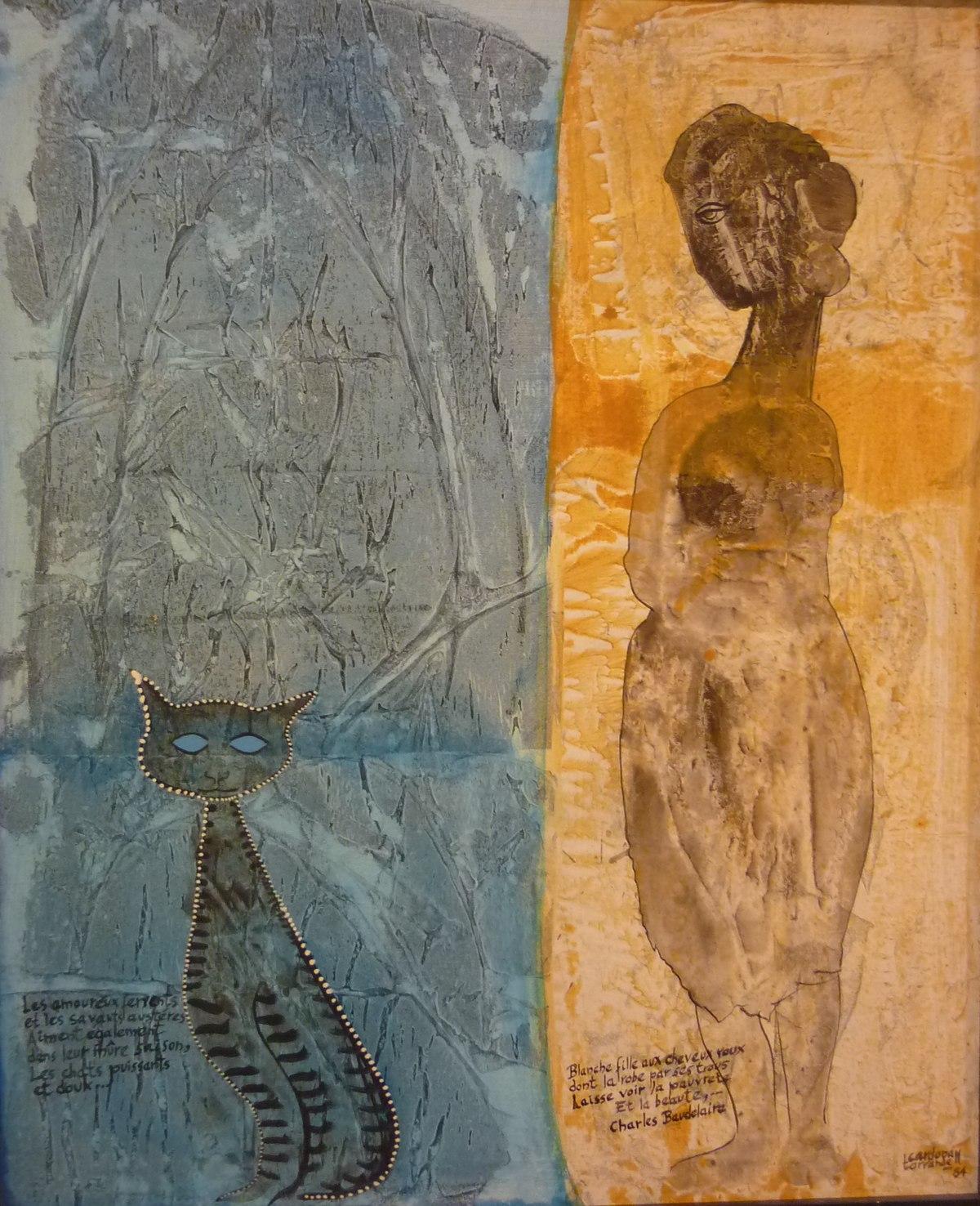 Armand Cardona Torrandell 'Gat i dona'.  Acrílic i oli sobre tela, 1984.