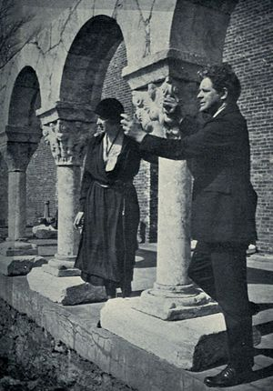 The Cloisters - Barnard and Clare Sheridan at his cloister in New York City, 1921