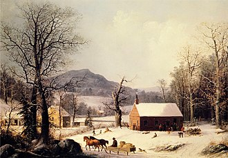 George Henry Durrie - Image: George Henry Durrie Red School House, Winter