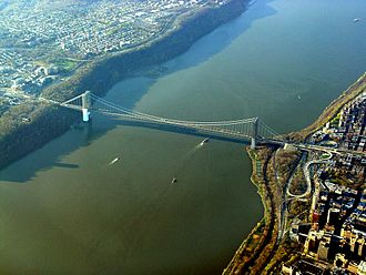George Washington Bridge - Aerial view of the bridge, surrounded by cliffs on either side