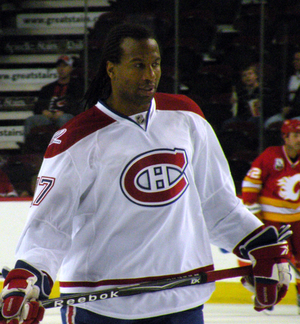 Montreal Canadiens forward Georges Laraque dur...