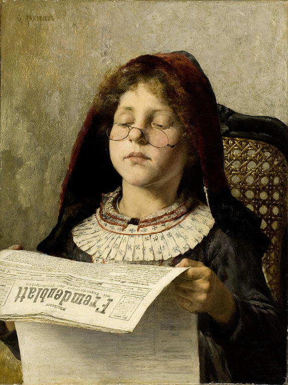 A girl reads a newspaper painted by Georgios Jakobides c.1882