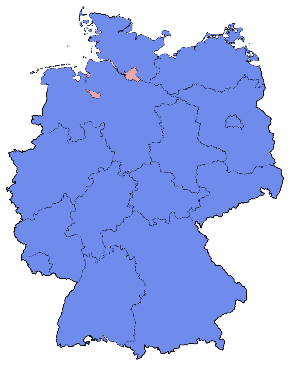 German Federal Election - Party list vote results by state - 2013