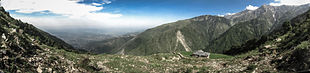 Overview of Dharamshala town in Kangra Valley from the Dhauladhar range