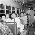 Gila River Relocation Center, Rivers, Arizona. Evacuees on their way home by Greyhound bus. On Sep . . . - NARA - 539850.jpg