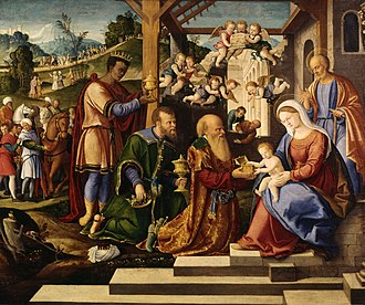 Melchior (Magus) - The Adoration of the Three Kings by Girolamo da Santacroce