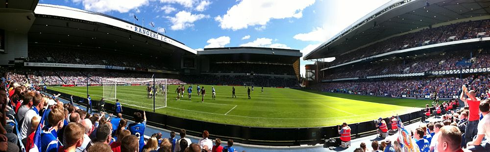 A panorama of Ibrox Stadium from the Broomloan Road End. This picture was taken the first match of the 2011/12 season, against Hearts of Midlothian.