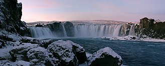 Goðafoss - Panorama of Goðafoss in winter