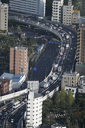 Elevated highway - Route 5 Shuto Expressway in Tokyo, Japan.