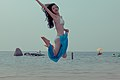 Good-looking model at the beach, full of life. (6784069733).jpg