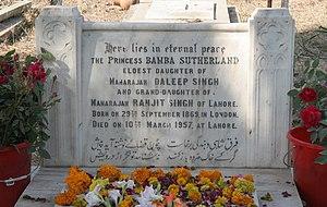 Gora Kabristan, Lahore - Headstone of Princess Bamba Sutherland (1869-1957), daughter of Maharajah Duleep Singh and granddaughter of Maharajah Ranjit Singh (2006)
