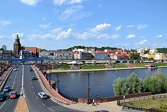 Gorzów Wielkopolski - View of the riverside boulevards and the Cathedral in Gorzów