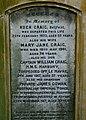 Gravestone of the Craig family, Balmoral Cemetery - geograph.org.uk - 1019898.jpg