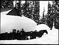 Group in front of snow covered cabin. VPL 2258 (9554677381).jpg
