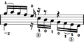 Example of the scoring of guitar fingering