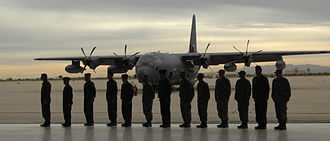 563d Rescue Group - The crew of the first HC-130J in front of their plane on Davis-Monthan AFB