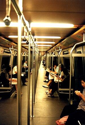 MTR Metro Cammell EMU (DC) - Interior of an unrefurbished M-Train EMU, taken in 1991.