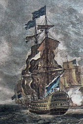 An oil painting of a large 18th-century warship