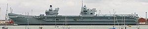 HMS Queen Elizabeth (R08) - Queen Elizabeth alongside in Portsmouth in September 2017