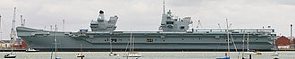 HMS Queen Elizabeth (R08) - Queen Elizabeth alongside in Portsmouth in September 2017