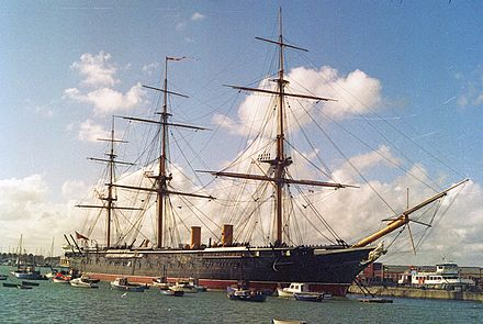 HMS Warrior, the first iron-hulled, armour-plated warship HMS Warrior armoured frigate 9,137 tons, Royal Navy (first armour-plated, iron-hulled warship.) (11632529933).jpg